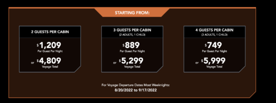 starcruiser pricing