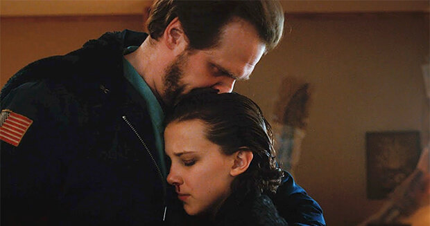 david harbour (left) and millie bobby brown (right) in stranger things