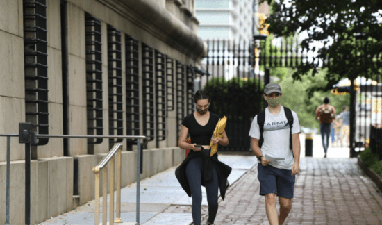 students walking on columbia campus