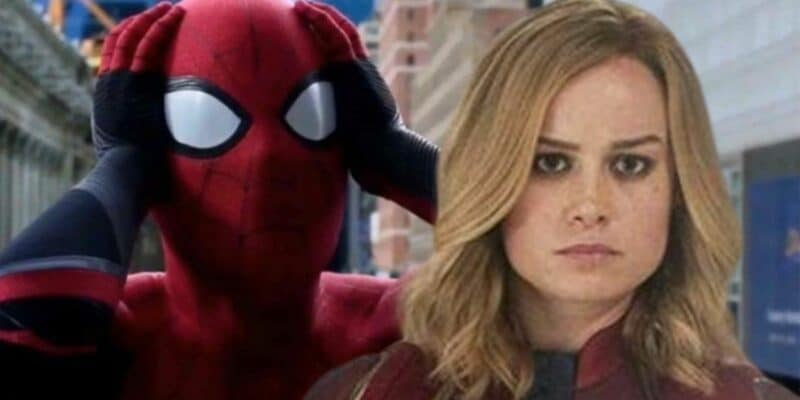 tom holland as peter parker aka spider-man in far from home (left) and brie larson as carol danvers aka captain marvel (right)