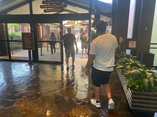 guests boarding monorail at polynesian resort