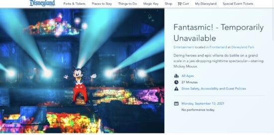 fantasmic at disneyland temporarily unavailable