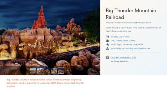 Big thunder mountain railroad refurbishment information