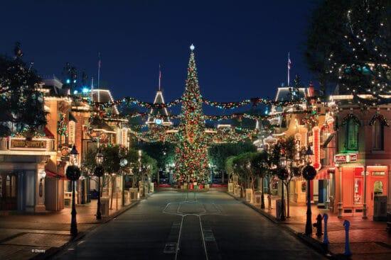 christmas on main street at disneyland