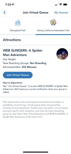 boarding group availability disneyland resort