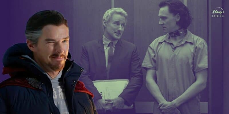 Benedict Cumberbatch as Doctor Strange (left), Owen Wilson as Mobius (middle), and Tom Hiddleston as Loki (right)