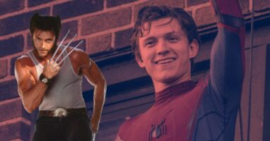 Hugh Jackman as Wolverine and Tom Holland as Spider-Man
