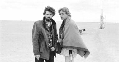 George Lucas (left) with Mark Hamill (right) as Luke Skywalker