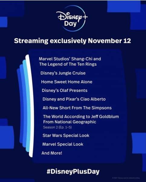 Disney+ Day line up