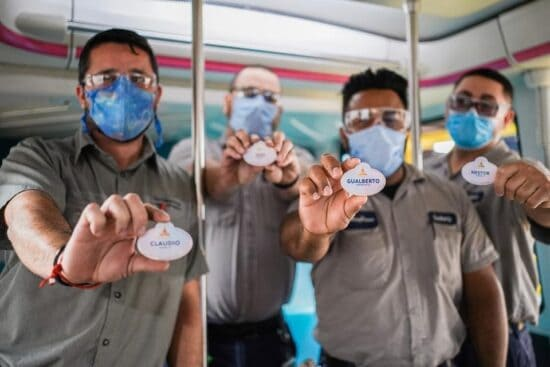 Walt disney world resort cast members holding their new name tags