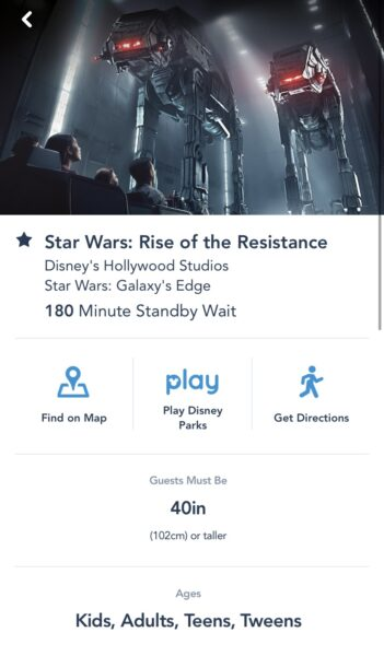 My Disney Experience screen shot of Rise of the Resistance posting a 180 minute wait