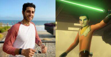Mena Massoud (left) Ezra Bridger with green lightsaber (right)