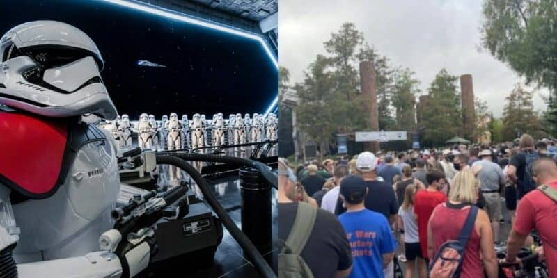 Rise of the Resistance attraction (left) / Crowds at Disney's Hollywood Studios for Rise of the Resistance standby line