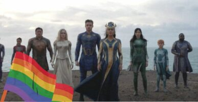 Eternals with Pride flag in the corner