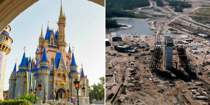 Cinderella Castle (left) Construction on Disney's Polynesian Resort
