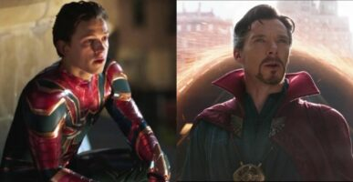 Tom Holland as Spider-Man (left) and Benedict Cumberbatch as Doctor Strange (right)