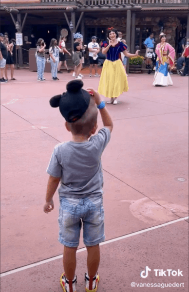 boy tips his hat to Disney princesses snow white
