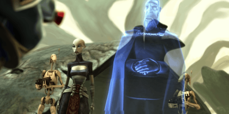 Count Dooku hologram with Asajj Ventress and droids