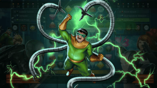 Doctor Octopus in costume with green lightning