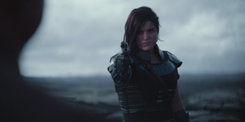 Gina Carano as Cara Dune holding a blaster