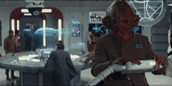 Admiral Ackbar with control room in the background