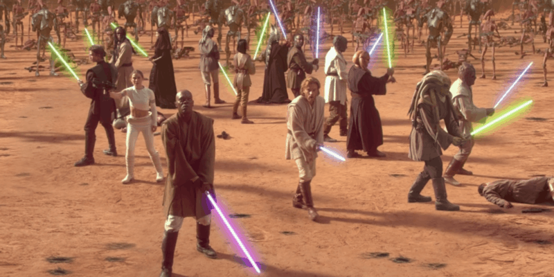Jedi facing the Droid army on Geonosis
