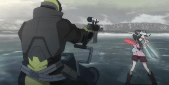 Kara on frozen lake being shot at and wielding lightsaber