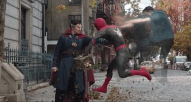 Doctor Strange using magic on Spider-Man