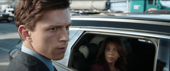 Tom Holland and Paula Newsome in a car