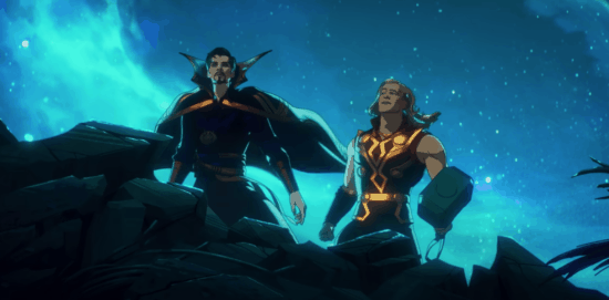 Doctor Strange Supreme and Thor on a hill