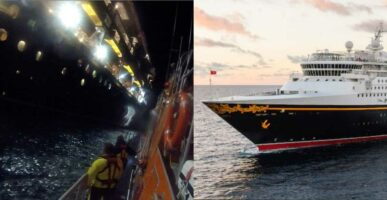 Lifeboat approaching cruise ship (left) / Disney Magic ship (right)