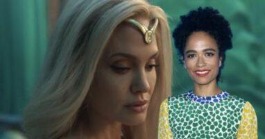 angelina jolie as thena in marvel eternals with actress lauren ridloff as makkari