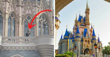 Guest on the balcony at Cinderella Castle (Left) Cinderella Castle (Right)