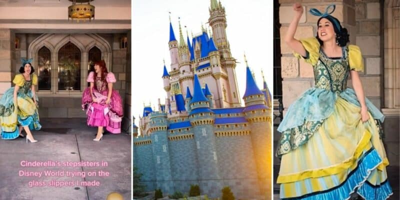 Anastasia and Drizella wearing new glass slippers on TikTok (left) Cinderella looking at Cinderella Castle (middle), Drizella (right)