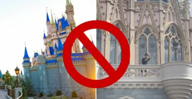 Cinderella Castle (left) with Guest on Cinderella Castle Balcony (right) and a Stop sign in the middle of the image