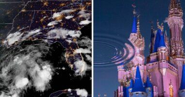 possible tropical storm (left) disney castle (right)