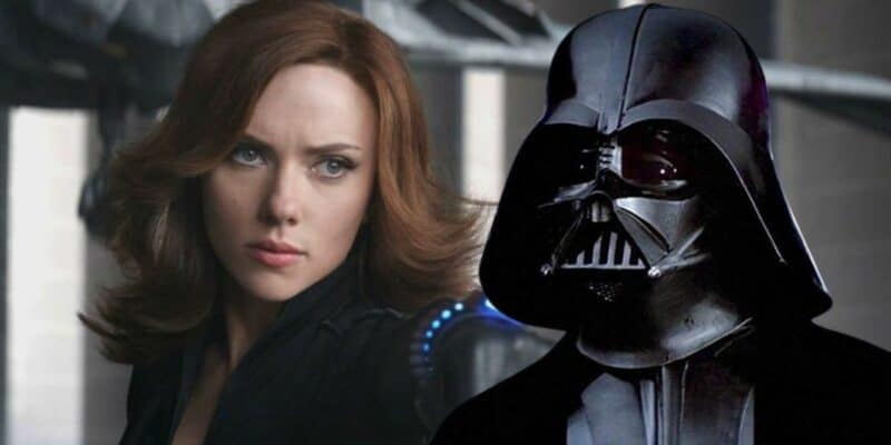 Marvel Scarlett Johansson as Natasha Romanoff aka Black Widow with Darth Vader from Star Wars