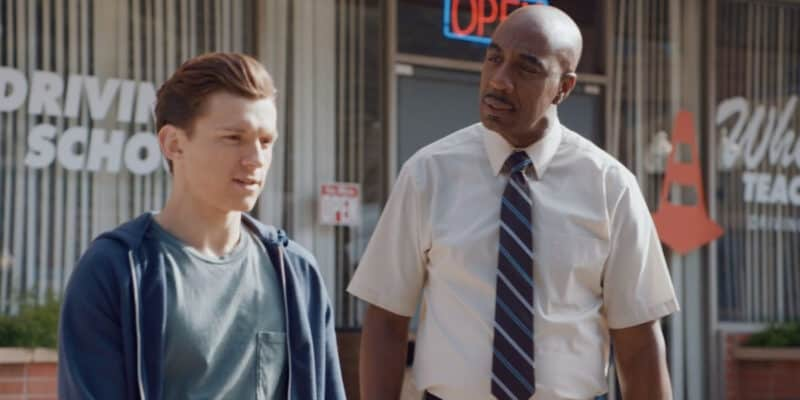 """Tom Holland as Peter Parker (left) and J.B. Smoove as Dr. Bell (right) in """"Spider-Man: Far From Home"""" (2019)"""