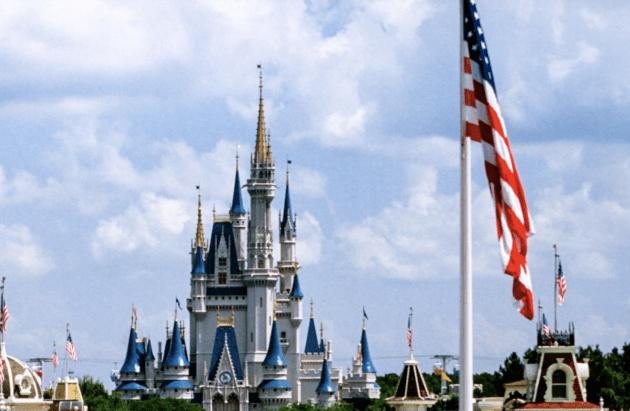 disney world american flag with cinderella castle