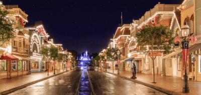 disneyland main street usa at night