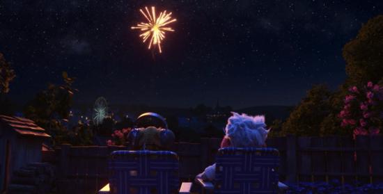 dug and carl watching fireworks dug days