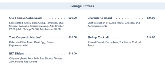 hollywood brown derby lounge menu
