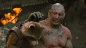 rocket (left) and drax (right) in guardians of the galaxy