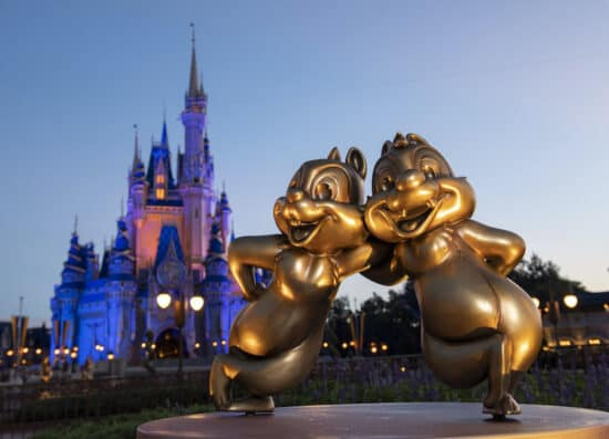 """Chip 'n' Dale are two of the """"Disney Fab 50"""" golden character sculptures appearing in all four Walt Disney World Resort theme parks in Lake Buena Vista, Fla., as part of """"The World's Most Magical Celebration,"""" beginning Oct. 1, 2021, in honor of the resort's 50th anniversary. (David Roark, photographer)"""