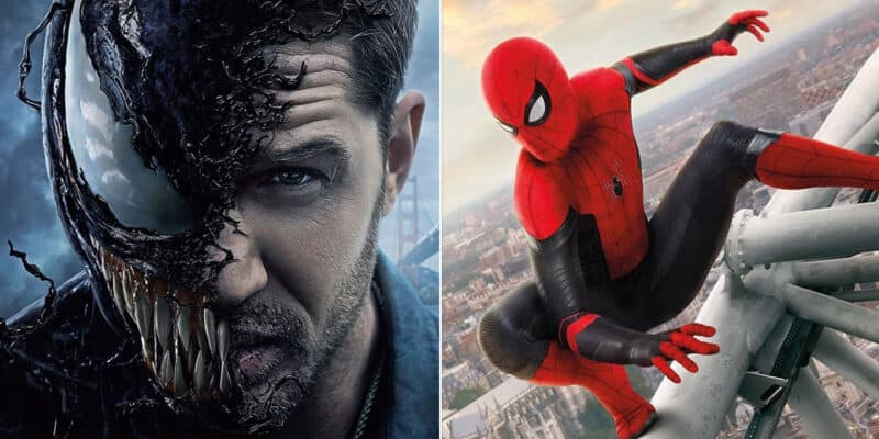 Tom Hardy as Venom (left) and Tom Holland as Spider-Man (right)