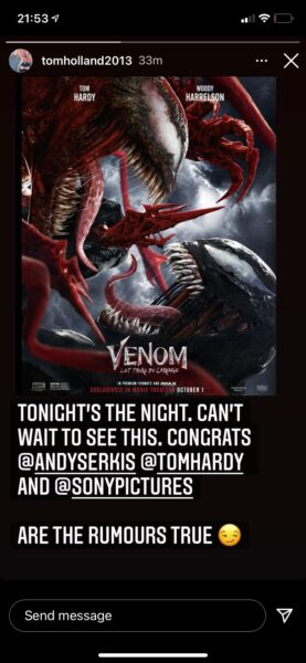 Tom holland posts about venom let there be carnage
