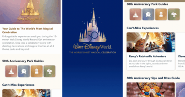 Disney world 50th guide in my disney experience app
