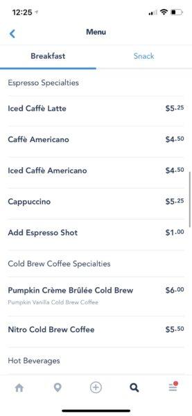 Cappuccino cart at disney California adventure menu