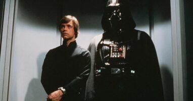 "Luke Skywalker and Darth Vader in ""Return of the Jedi"""