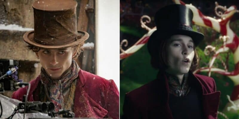 Two versions of Willy Wonka - L: Timothée Chalamet, R: Johnny Depp
